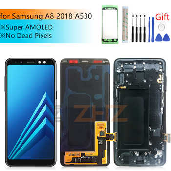 Super AMOLED For Samsung A8 lcd A530 2018 touch screen digitizer Assembly A530f A530N with frame screen replacement repair parts - DISCOUNT ITEM  17% OFF All Category