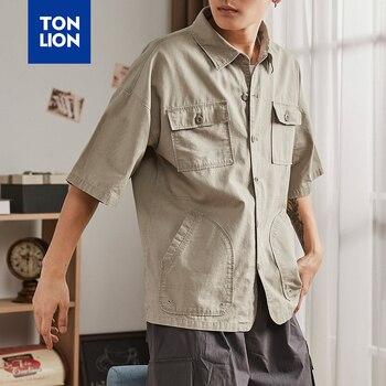 TONLION 2020 Summer Khaki Denim Shirts Men Short Sleeve Single Breasted Shirts Mens Casual Safari Style Solid Shirt with Pockets цена 2017