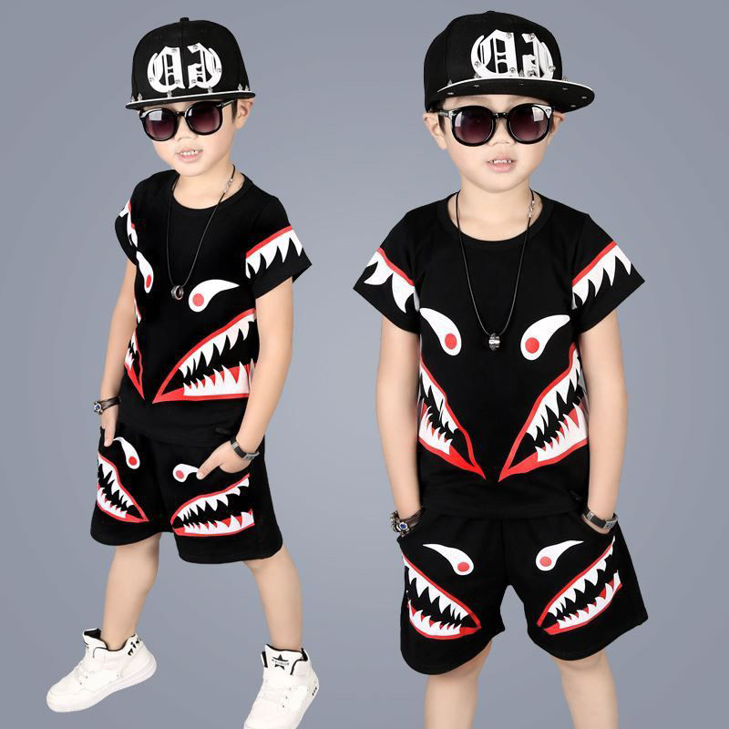 New Summer Teen Children's Clothing Set 3-11year Fashion Tracksuit For Boys Sports Suit Shark Pattern Clothes Sets
