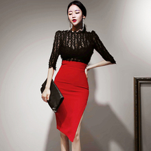New arrival women Spring Summer Two Piece Set see through Lace Blouses