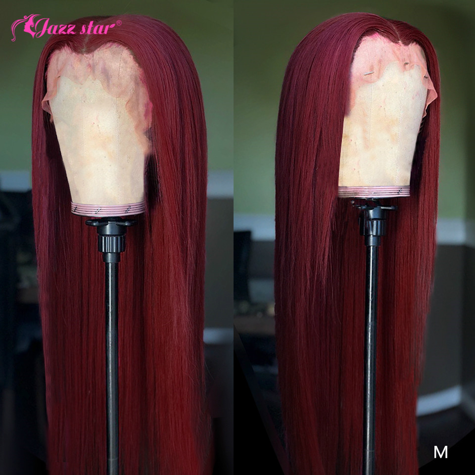 Brazilian Wig13x4 Straight Burgundy Lace Front Wig 99J Lace Front Human Hair Wigs for Black Women Pre-Plucked Non-Remy Jazz Star title=
