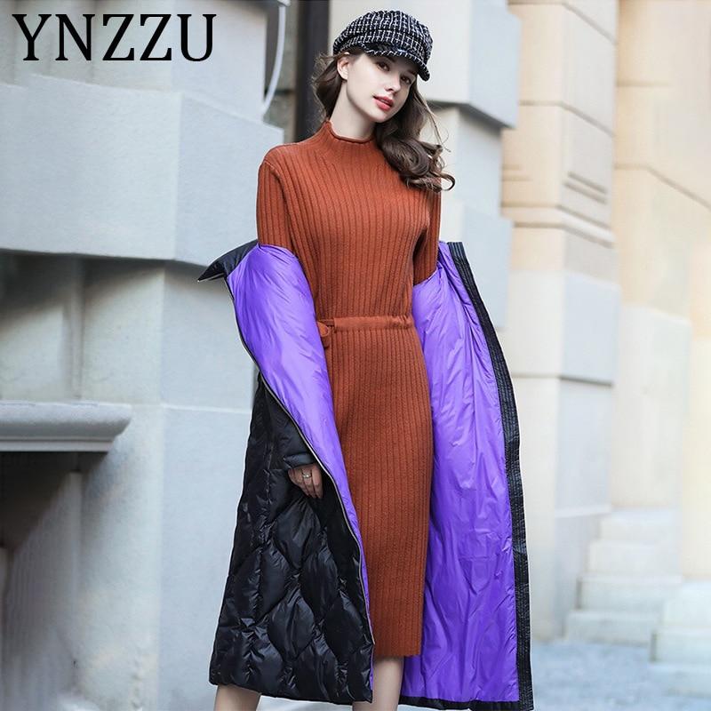 YNZZU Korean Style Hit Color 2019 Winter Women's Down Jacket Long White Goose Down Coat Stand Collar Warm Female Jacket A1219
