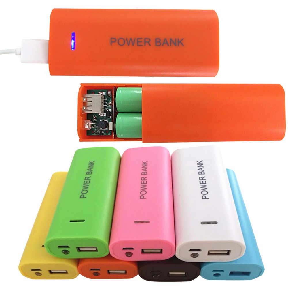 Color caramelo moda 5600mAh 2X short hair18650 banco de energía USB cargador de batería caja DIY para iPhone 18650 baterías