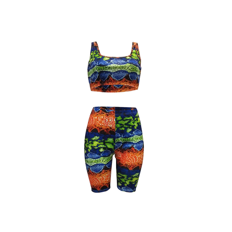 snake skin double strapped croptop women summer sets luring printed pencil pants O neck low cut playsuits in Women 39 s Sets from Women 39 s Clothing