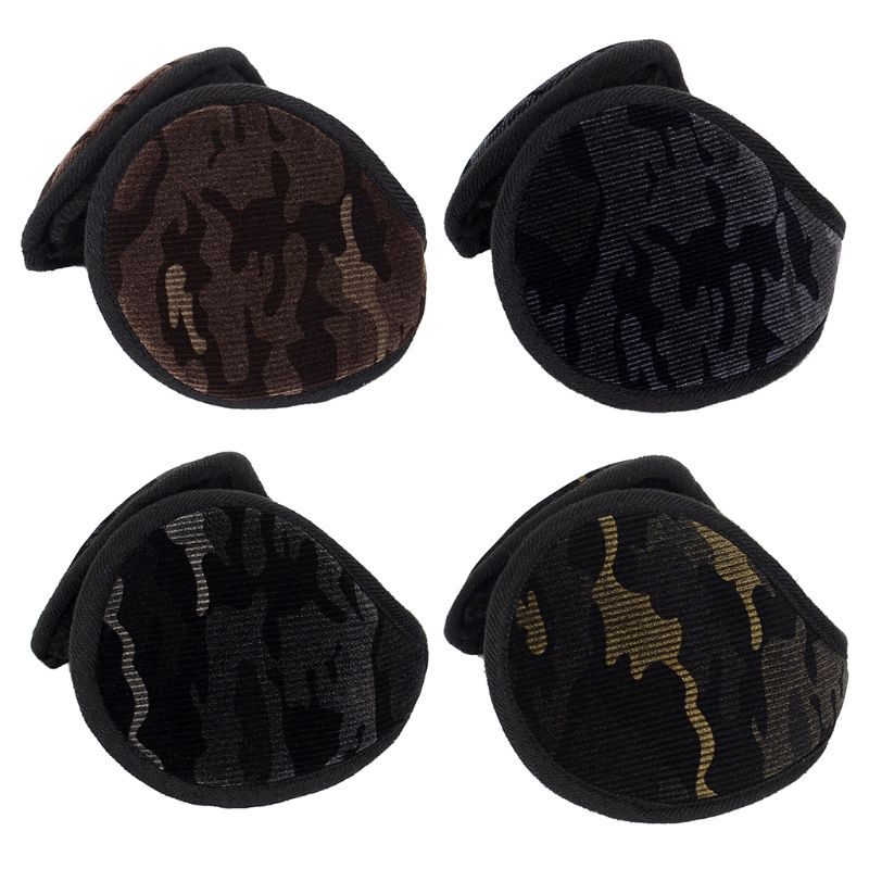 Unisex Winter Camouflage Velvet Earmuffs Plush Lining Behind Head Ear Warmers NEW