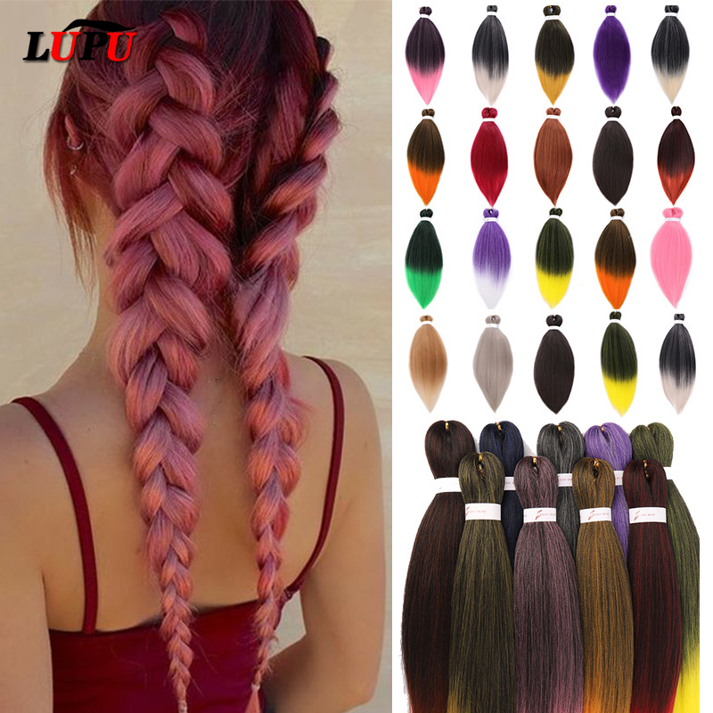 LUPU 26 Inches100g Yaki Straight Synthetic Hair Extension Pre Stretched Crochet Jumbo Braids Kanekalon Hair Braiding