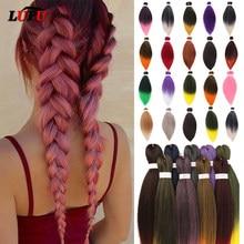 LUPU – Extensions de cheveux synthétiques, tresses Jumbo pré-étirées, lisses Yaki, rose, vert, violet, bleu, 26 pouces, 100g