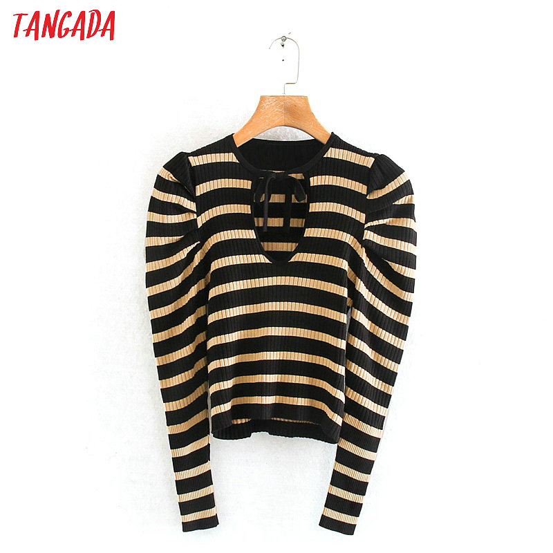 Tangada 2020 Chic Women Striped Pattern Slim Sweater Vintage Ladies Bow Tie V Neck Sexy Knitted Jumper Tops RY31