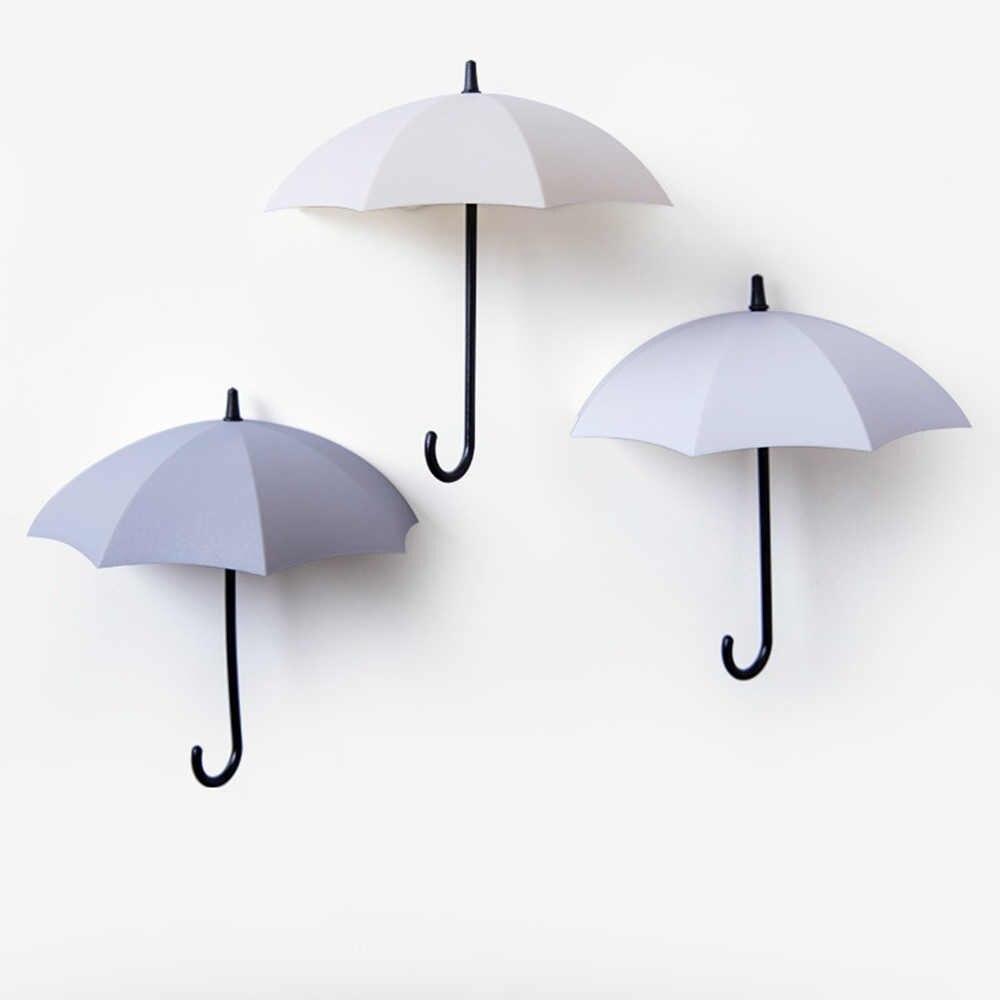 1 GlobalDeal Direct 3Pcs Mini Umbrella Wall Hook Key Hanging Keyring Holder Decorative Organizer