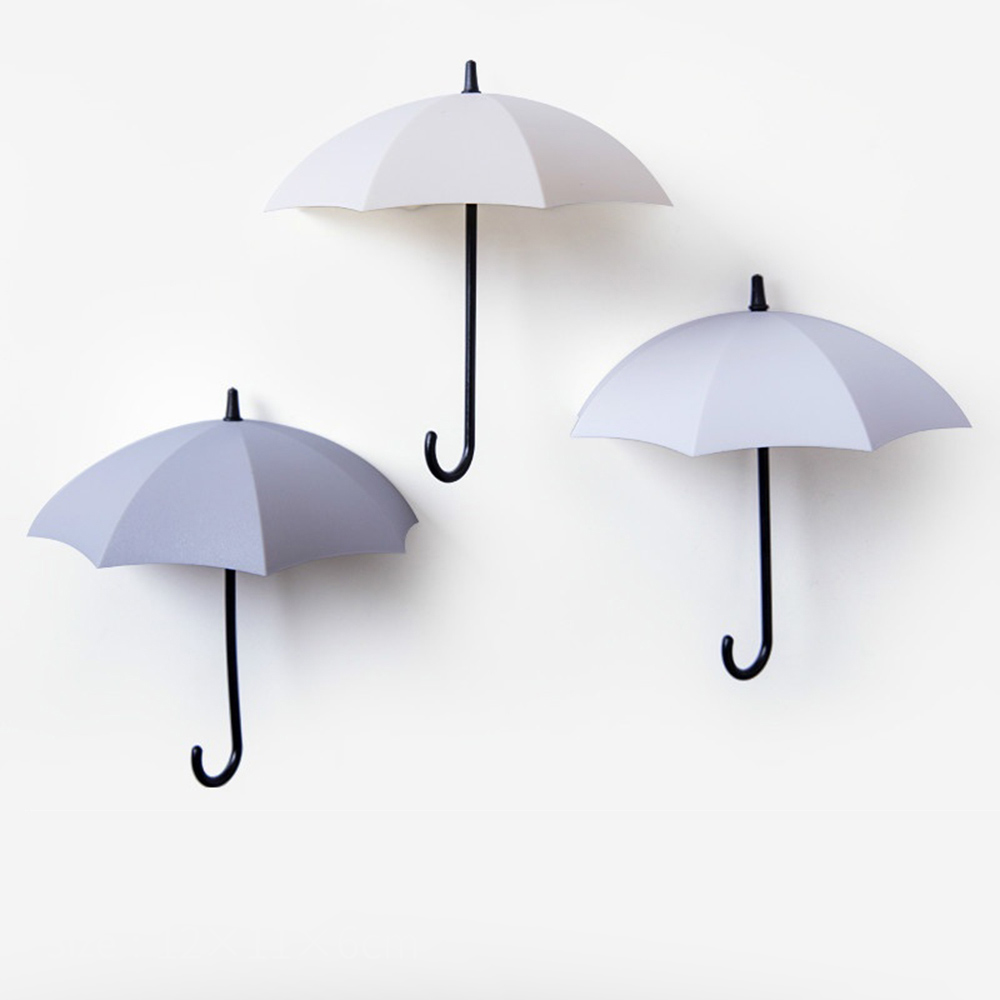 3 Pcs/Set Nordic Style Umbrella Wall Hanger Self-adhesive Hooks Wall Decor Kitchen Storage Rack