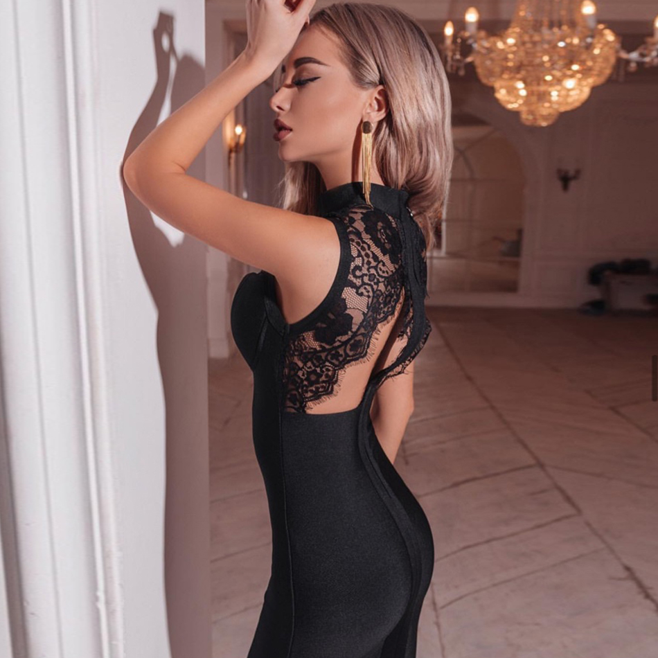 ADYCE 2020 New Summer Women Black Lace Bandage Dress Sexy Backless Hollow Out Midi Celebrity Evening Runway Party Dress Vestidos