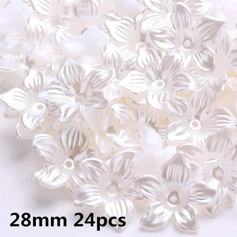 Fildişi/beyaz çok tasarım ABS inci boncuk kapaklar taklit plastik çiçek boncuk çiçek priz DIY aralıklı takı