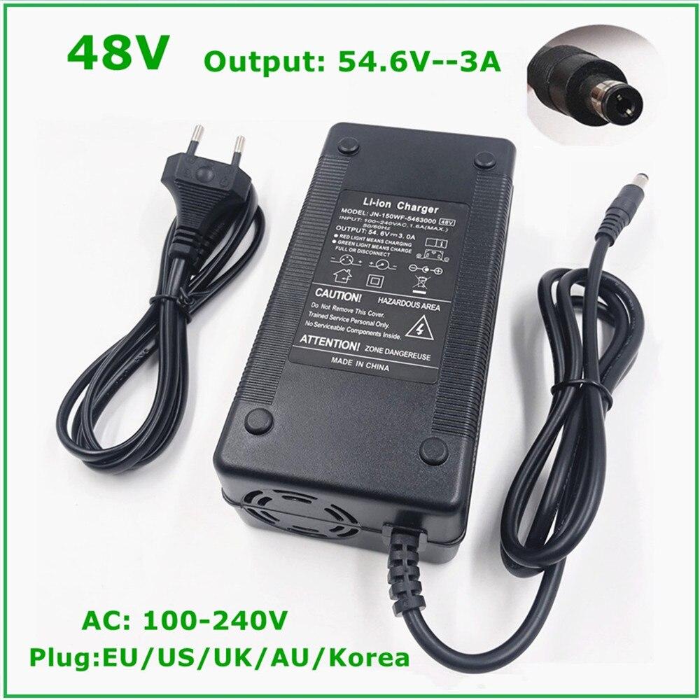54.6v 3a carregador de bateria para 13s 48v li ion bateria bicicleta elétrica bateria de lítio carregador de alta qualidade forte dissipação de calor|Carregadores|   -