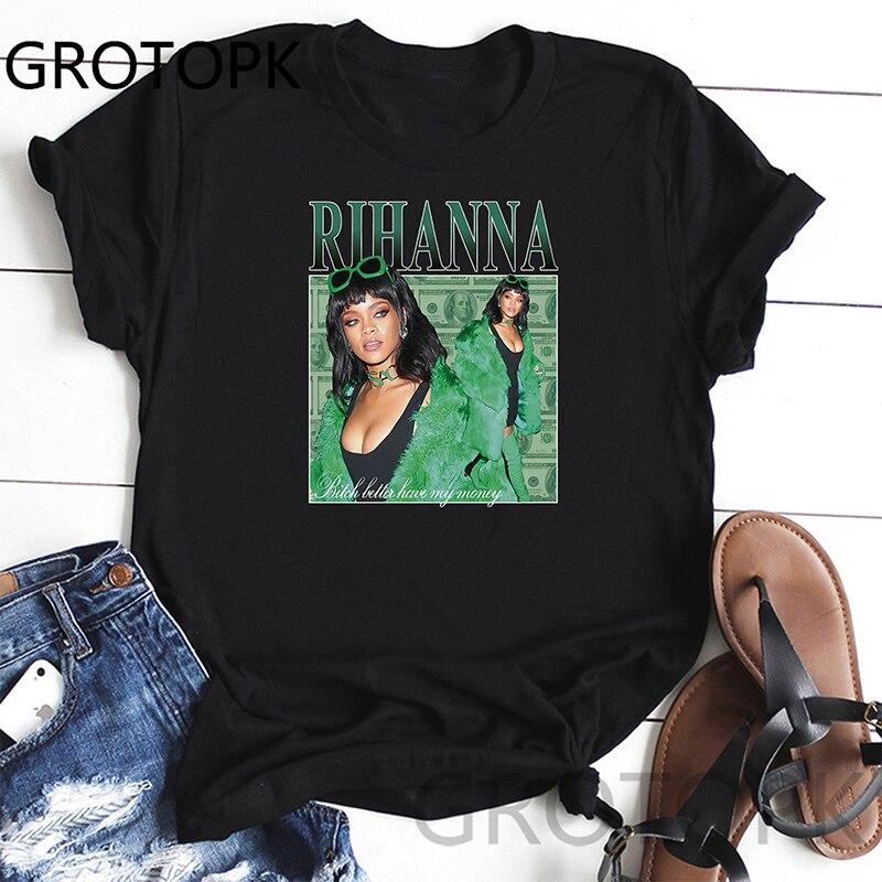 Rihanna Vintage 90S Harajuku Printed Women T-Shirts Casual Summer Short Sleeve Short Sleeve T Shirt Tops Tumblr