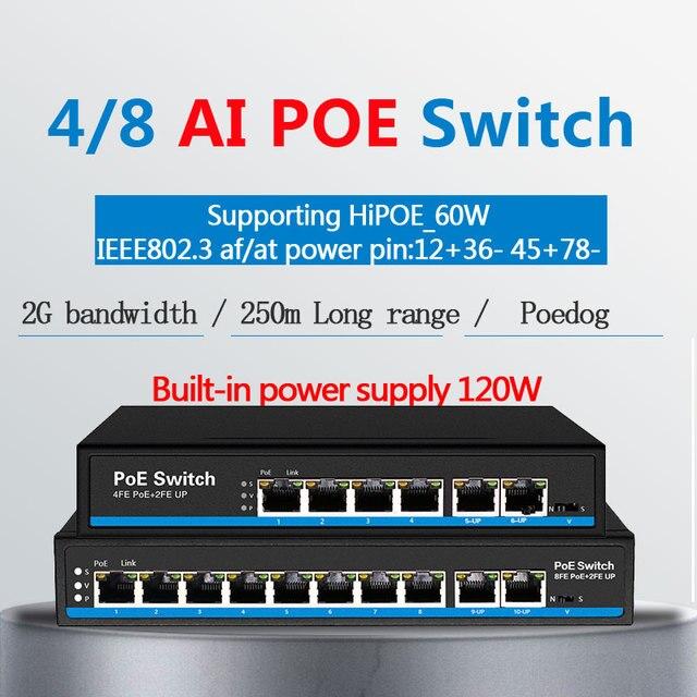 Ai schalter PoE hund erste Port mit 60 watt PoE switch 4 port 8 port Ethernet switch Unterstützung VLAN 250M für ip kamera wirless AP