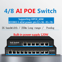 Ai switch PoE dog first Port with 60 watt PoE switch 4 port 8 port Ethernet switch Support VLAN 250M for ip camera wirless AP 9 ports switch 4 poe 15 4w per port 4 ethernet 1 fiber ieee802 3af 1 6gbps bandwidth