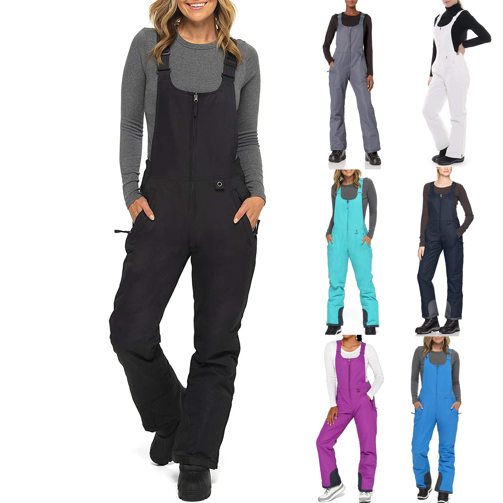 Women's Pants Insulated Bib Overalls Solid Color Pocket One-piece Suspenders Trousers Winter Ski Warm Thick Pants Женские Штаны
