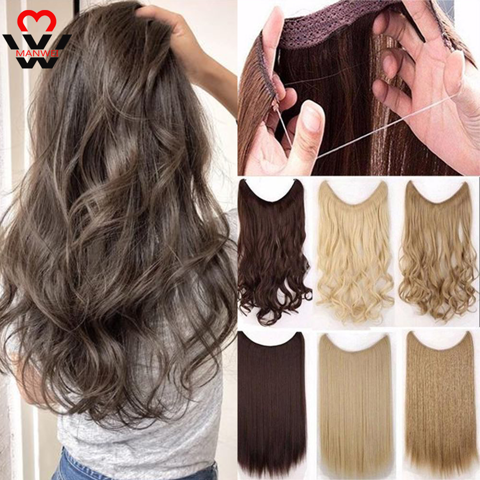 MANWEI Long  Wavy Fish Line Women Hairpieces Invisible Wire No Clips In One Piece Synthetic Hair Extensions Fake Hair For