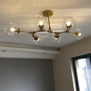 Image 1 - Nordic Industrial Style LED Ceiling Lights Glass Ceiling Lamp Restaurant Hanging Lamp Living Room Lamp Bedroom Cafe