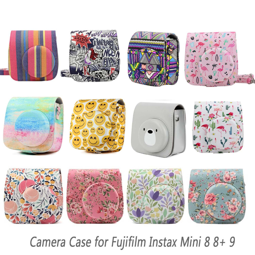 Besegad PU Leather Carrying Camera Bag Shell Pouch Case W/Strap For Fujifilm Instax Mini 8 8+ 9 Instant Cameras Accessories