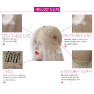 Image 5 - 카리스마 #60 플래티넘 금발 가발 자연 헤어 라인 합성 레이스 프런트 가발 glueless 내열성 레드 가발 여성을위한