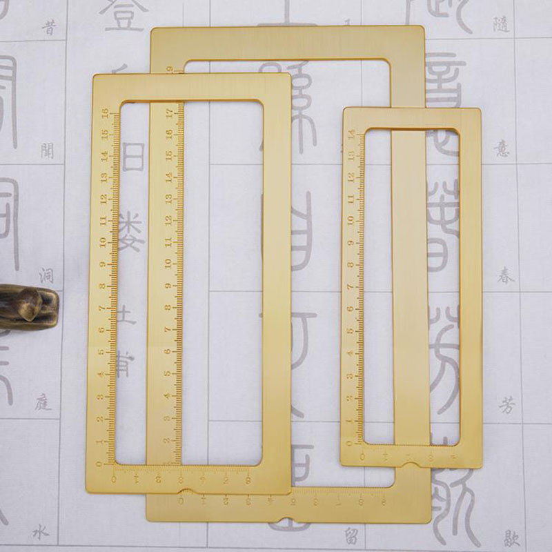 Mul Functional Brass Ruler Frame Ruler With Centimeter Scale Pape Weight Calligraphy Supplies 3 Sizes Super Offer 0d03 Cicig