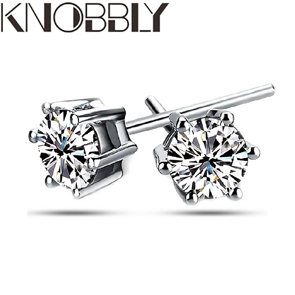 White Gold Plated Six-claw Fashion Diamond Wedding Earrings Cubic Zirconia Party Engagement Earrings Ladies Fashion Party Gift