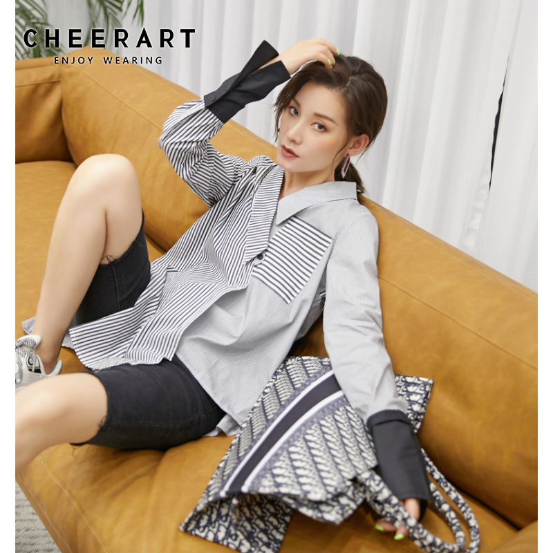 CHEERART Striped And Spliced Shirts Women Asymmetrical Tops And Blouses High Fashion Button Up Shirt With Collar Fall 2019