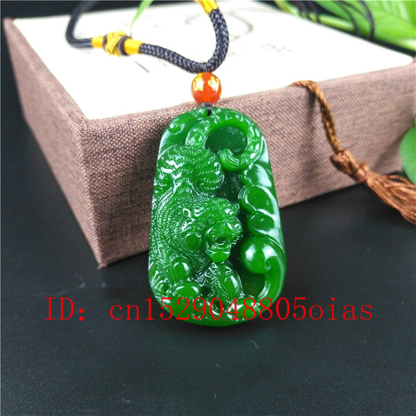 Natural Green Chinese Jade Tiger Pendant Necklace Fashion Charm Jewelry Carved Amulet Gifts For Women Men