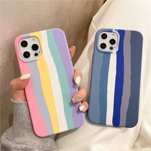 For iPhone 11 12 Pro XR X XS Max Original Official Cartoon rainbow Silicone Case for iPhone 7 8 6 6S Plus SE 2020 Case With Box