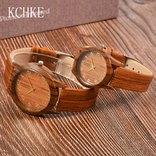 KCHKE Lovers Watch Men Women Quartz Wooden Watch