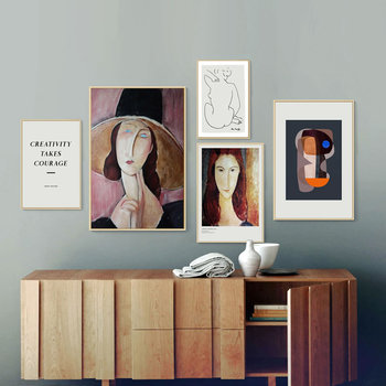 Modern Geometry Amedeo Modigliani Woman Mattis Sketch Canvas Print Painting Poster Wall Pictures For Living Room Home Decoration image
