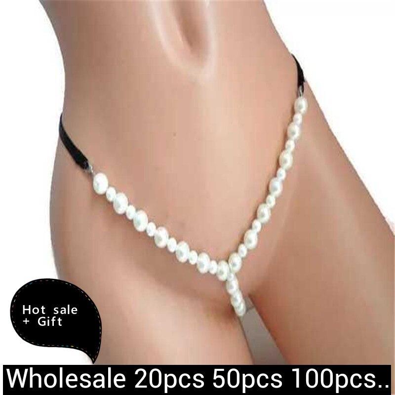 Livraison directe en gros dame Sexy sous-vêtement bikini perle chaîne boîte de nuit collier amoureux Flirt bijoux de corps pour les femmes Couple