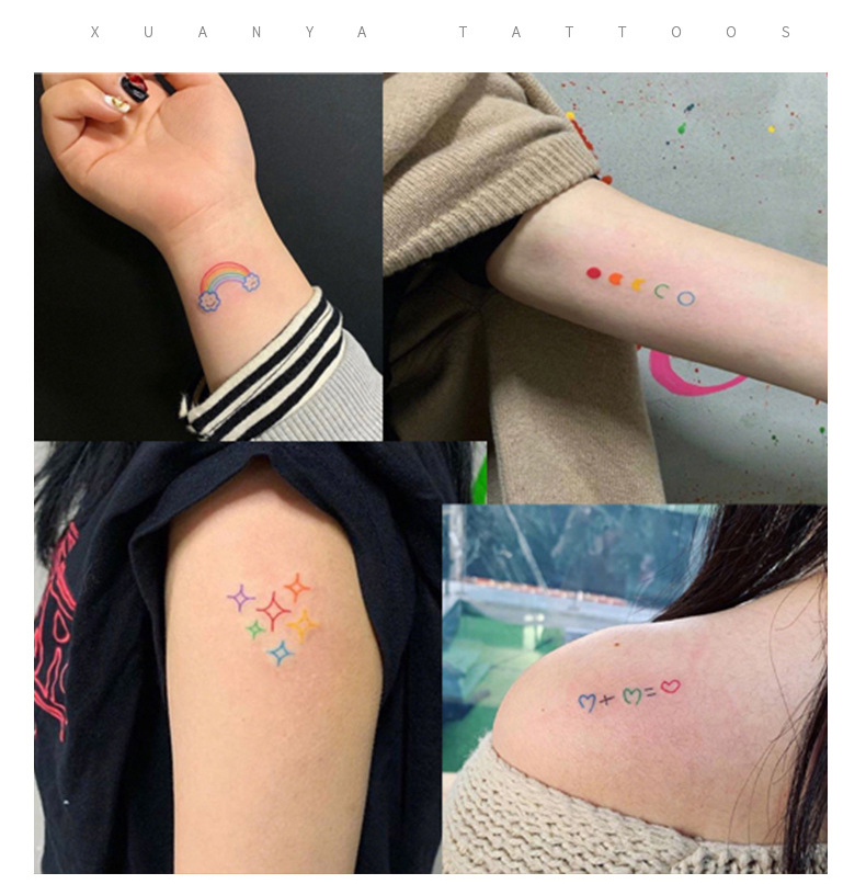 Tattoo Stickers 30 Sheets/ lot Kawaii Sticker Korean Style Ins Flowers Rainbow Tattoo Stickers Cartoon Decoration Stickers 3