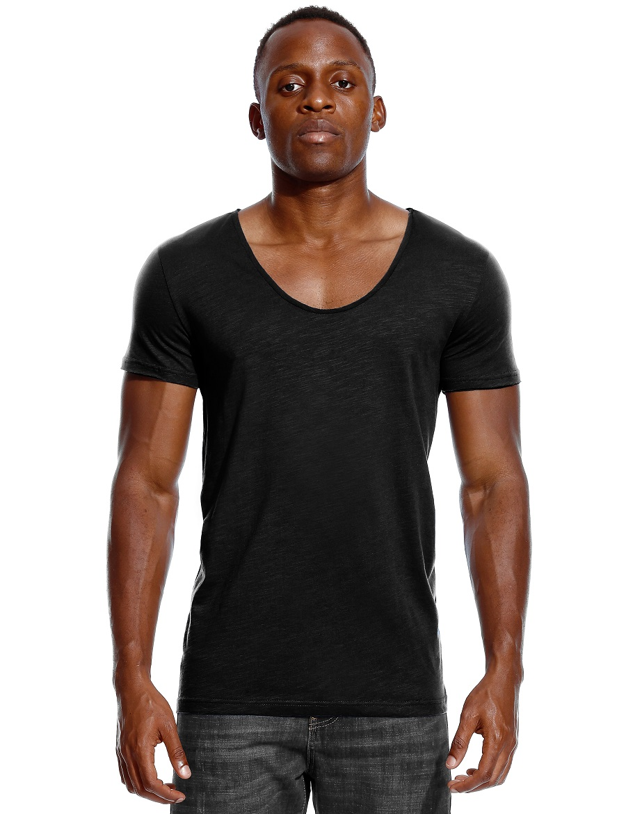 Scoop Neck T Shirt For Men Low Cut Deep V Neck Wide Vee Tee Male Tshirt Invisible Undershirt Slim Fit Short Sleeve