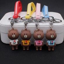 Cartoon Anime Cute Brown Bear Keychain Little Pendant Key Chain For Women Men Couples Keyring Jewelry Porte Clef
