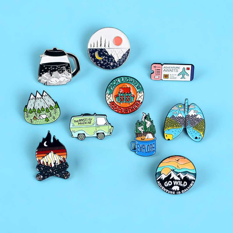 Gaan Reizen! Adventure Pin Berg Bos Meren Aarde Verkennen Natuur Bus Emaille Pin Knop Badge Broche Vrouwen Mannen Outdoorsy Gift