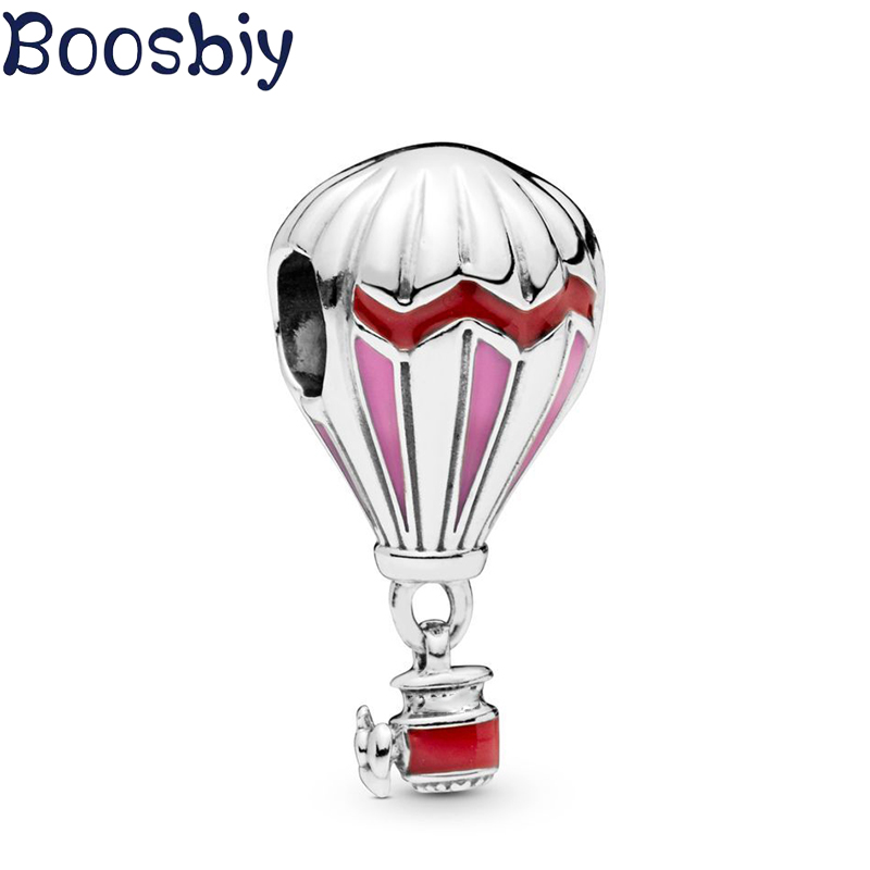 Boosbiy 2pc Romantic Red Hot Air Balloon Charm Pendants Fit Pandora Bracelets & Necklaces for Women DIY Fashion Jewelry Making image