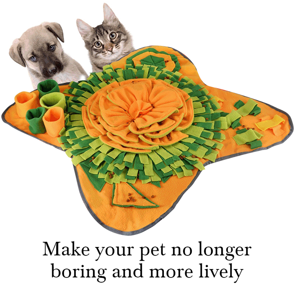 Pet Dog Sniffle Mat Durable Interactive Puzzle Puppy Nosework Playground Toy Blanket Pet Sniffing Training Detachable Fleece Pad