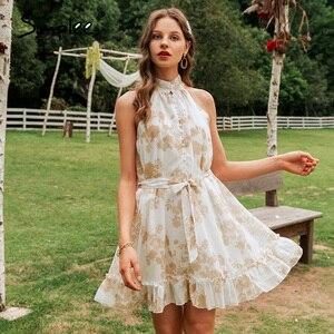 Image 4 - Simplee Sexy vestido de mujer sin mangas liso con volantes botones de fajín fiesta verano vestido Casual vacaciones señoras gasa playa mini vestido