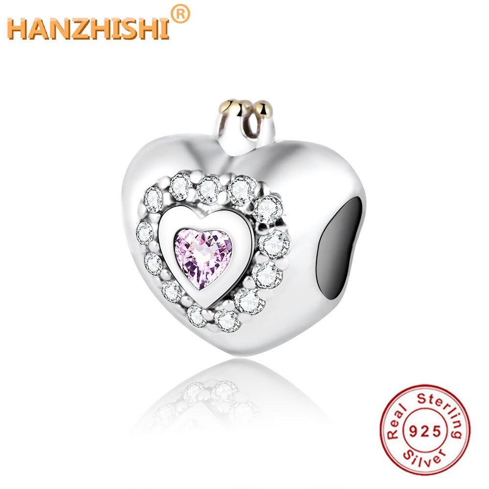 Srce srebrni šarm s krunom, ružičastim i bistrim kubnim cirkonijem Fit Pandora Charms narukvica narukvica 100% 925 srebrne perle od srebra