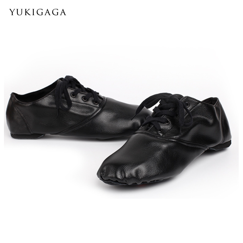Black Genuine Leather Jazz Shoes Soft Dancing Sneakers Gymnastics Dance Shoes Unisex Slip On Jazz Dance Shoes
