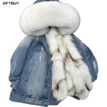 Женская джинсовая куртка с меховой подкладкой OFTBUY, джинсовая куртка с воротником из натурального меха енота, на толстой теплой подкладке из лисьего меха, новинка зимнего сезона 2020