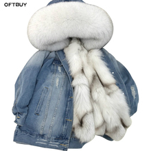 Oftbuy 2020 デニムパーカー冬のジャケットの女性本物の毛皮のコート毛皮の襟リアル厚く暖かいキツネの毛皮ライナー上着新