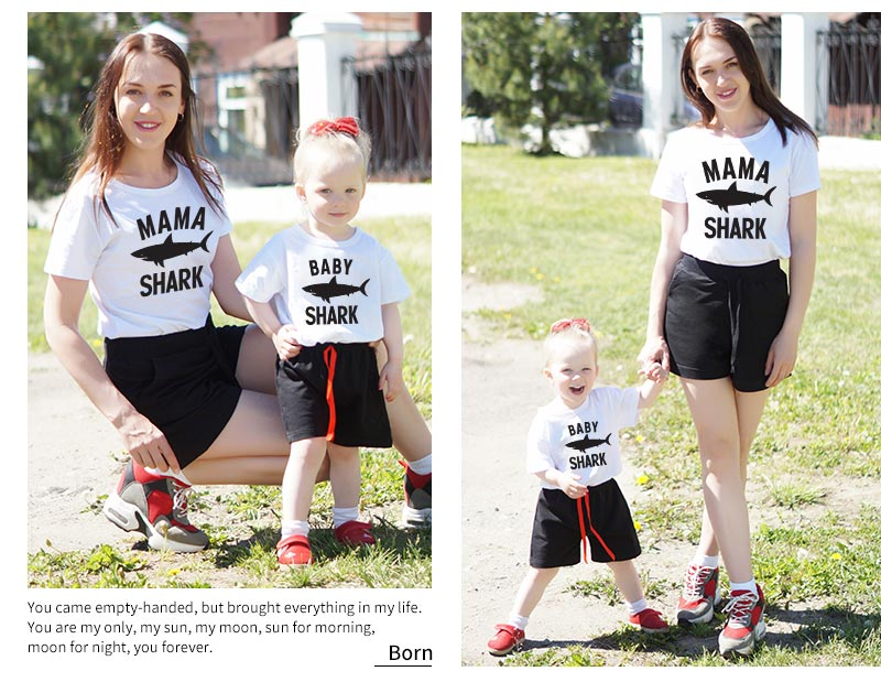 Summer Shark Family Matching Clothes T Shirt Mother Son Dad Girl T Shirts Kids Baby Girl Boys Romper T Shirt Outfits QT-1934 1
