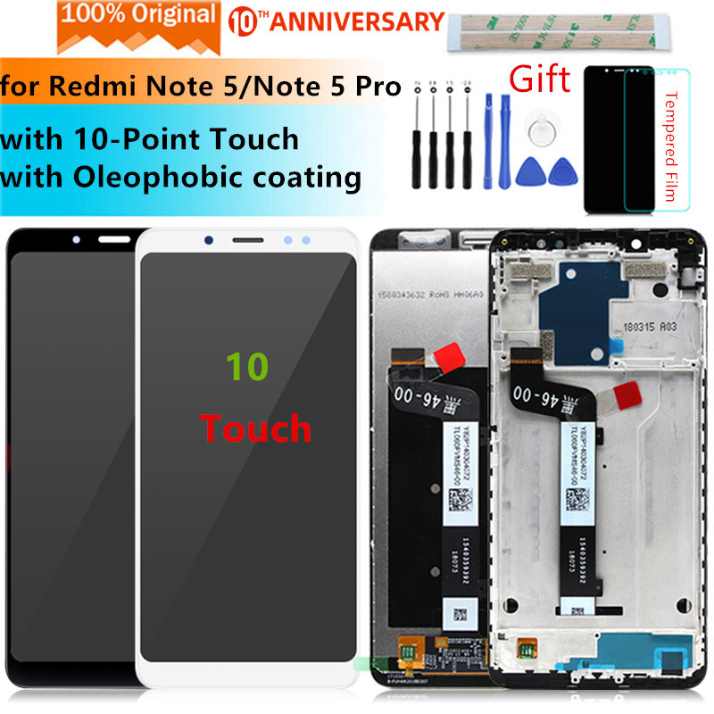 Original for Xiaomi Redmi Note 5 lcd display Digitizer assembly with Frame for Redmi Note 5 pro display Replacement Repair Parts title=