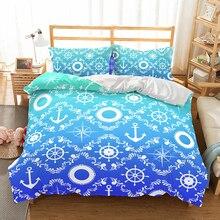 Patrón Vintage Brújula de anclaje funda nórdica sueño de vela ropa de cama niños niñas habitación individual cama doble conjunto Colcha verde azul