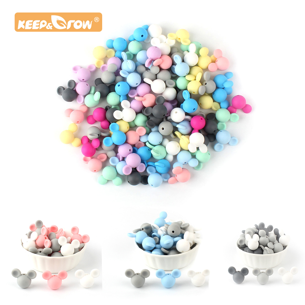 Keep&Grow 10pcs Mickey Silicone Beads Mouse Cartoon BPA Free Teether Toy Accessories For DIY Necklace Pendant Baby Products