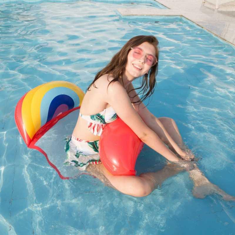 เด็กผู้ใหญ่แบบลอยน้ำ Hammock Inflatable Air ที่นอนเก้าอี้สระว่ายน้ำ Inflatable Hammock เตียงของเล่น