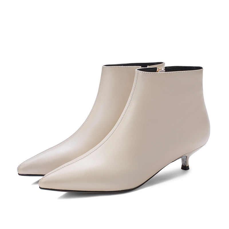 Küçük Topuklu ayak bileği kısa çizmeler kadın seksi kedi topuklu sivri burun chelsea botines kadın tüm maç katı deri martin botas kısa